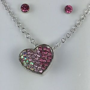 NEW Crystal Aurora Borealis Heart Earring Necklace